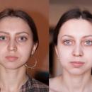 Коррекция формы бровей+окрашивание (слева - макияж и форма бровей ДО)