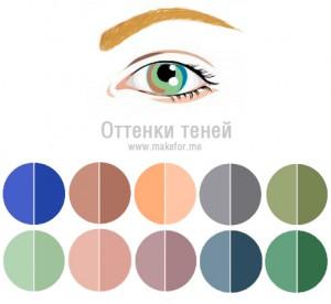 Макияж для зеленых зелено-голубых каре-зеленых глаз, тени